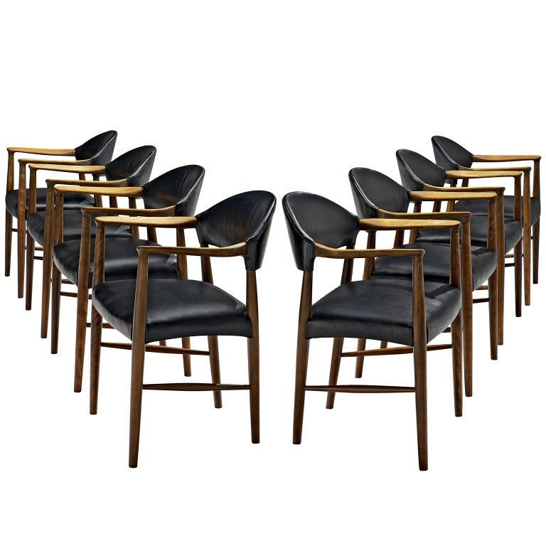 Danish Set of Eight Black Leather Armchairs by Kurt Olsen For Sale