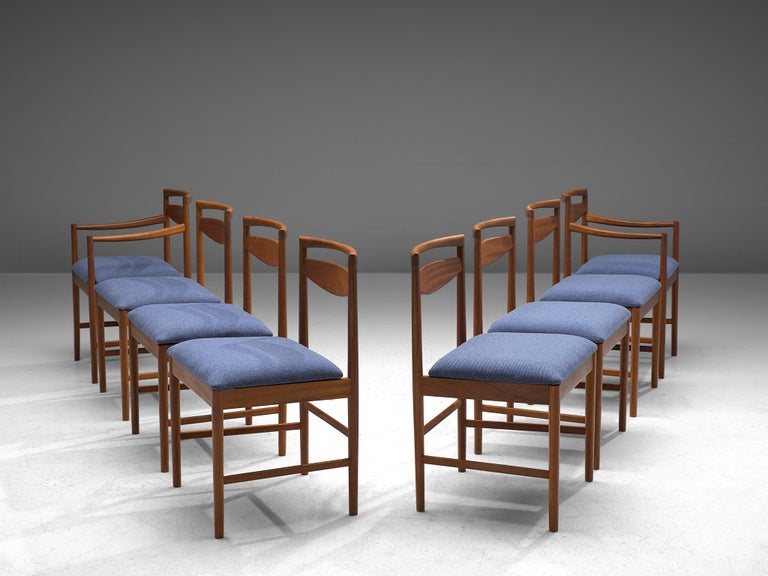 Set of 8 dining chairs, teak and fabric, Denmark, 1960s