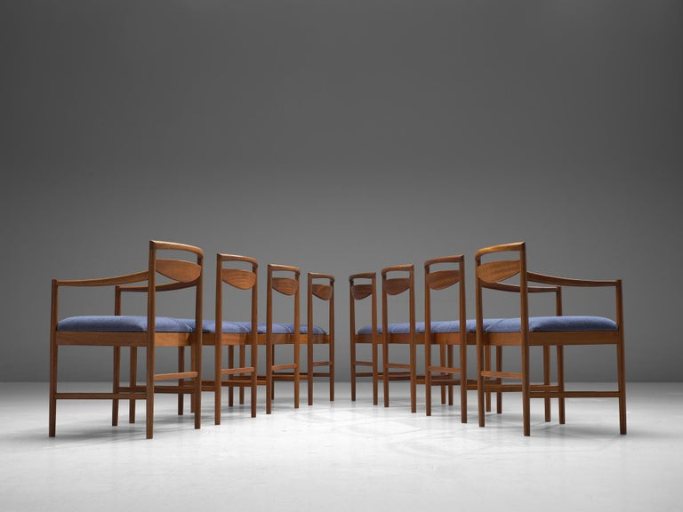 Scandinavian Modern Danish Set of Eight Chairs in Teak and Blue Upholstery For Sale