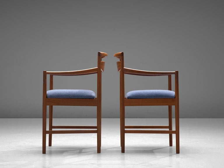 Mid-20th Century Danish Set of Eight Chairs in Teak and Blue Upholstery For Sale