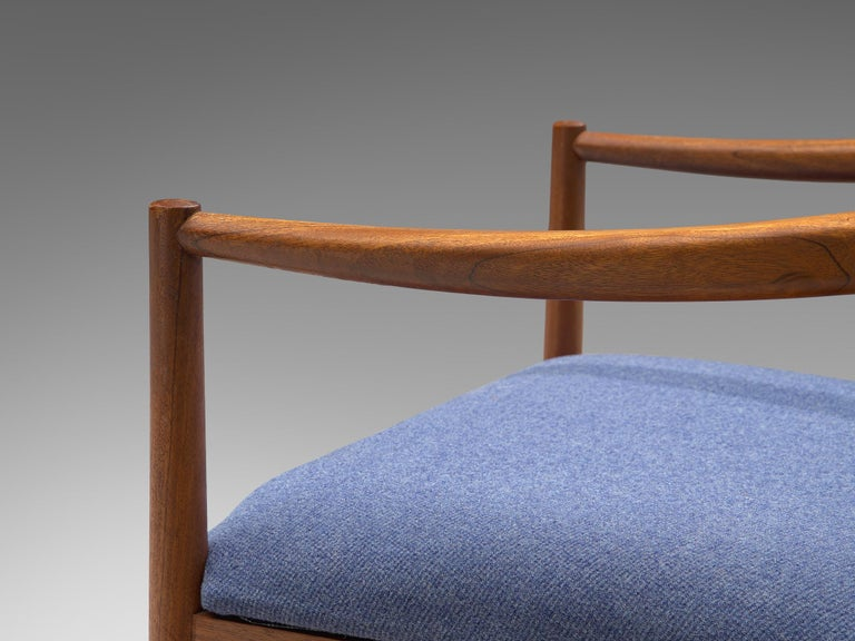 Danish Set of Eight Chairs in Teak and Blue Upholstery For Sale 1