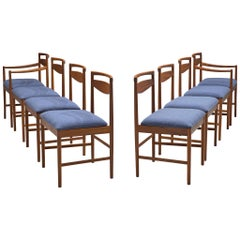 Danish Set of Eight Chairs in Teak and Blue Upholstery