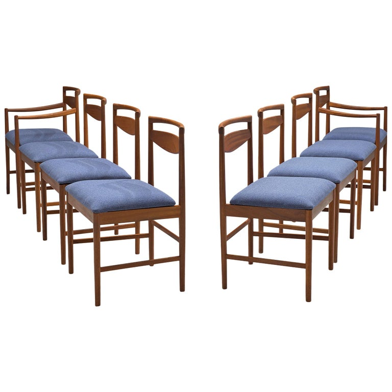 Danish Set of Eight Chairs in Teak and Blue Upholstery For Sale