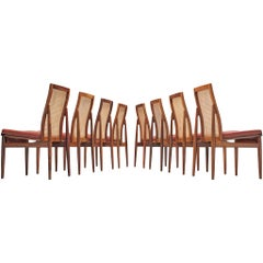 Danish Set of Eight Dining Chairs Fully Restored and Reupholstered