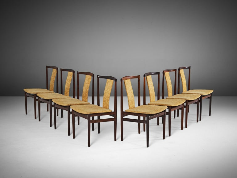 Set of 8 dining chairs, in rosewood and fabric, Denmark, 1940s. 