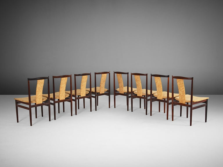 Scandinavian Modern Danish Set of Eight Rosewood Dining Chairs For Sale