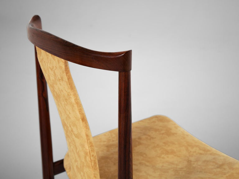 Fabric Danish Set of Eight Rosewood Dining Chairs For Sale