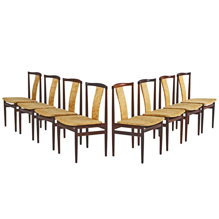 Danish Set of Eight Rosewood Dining Chairs For Sale
