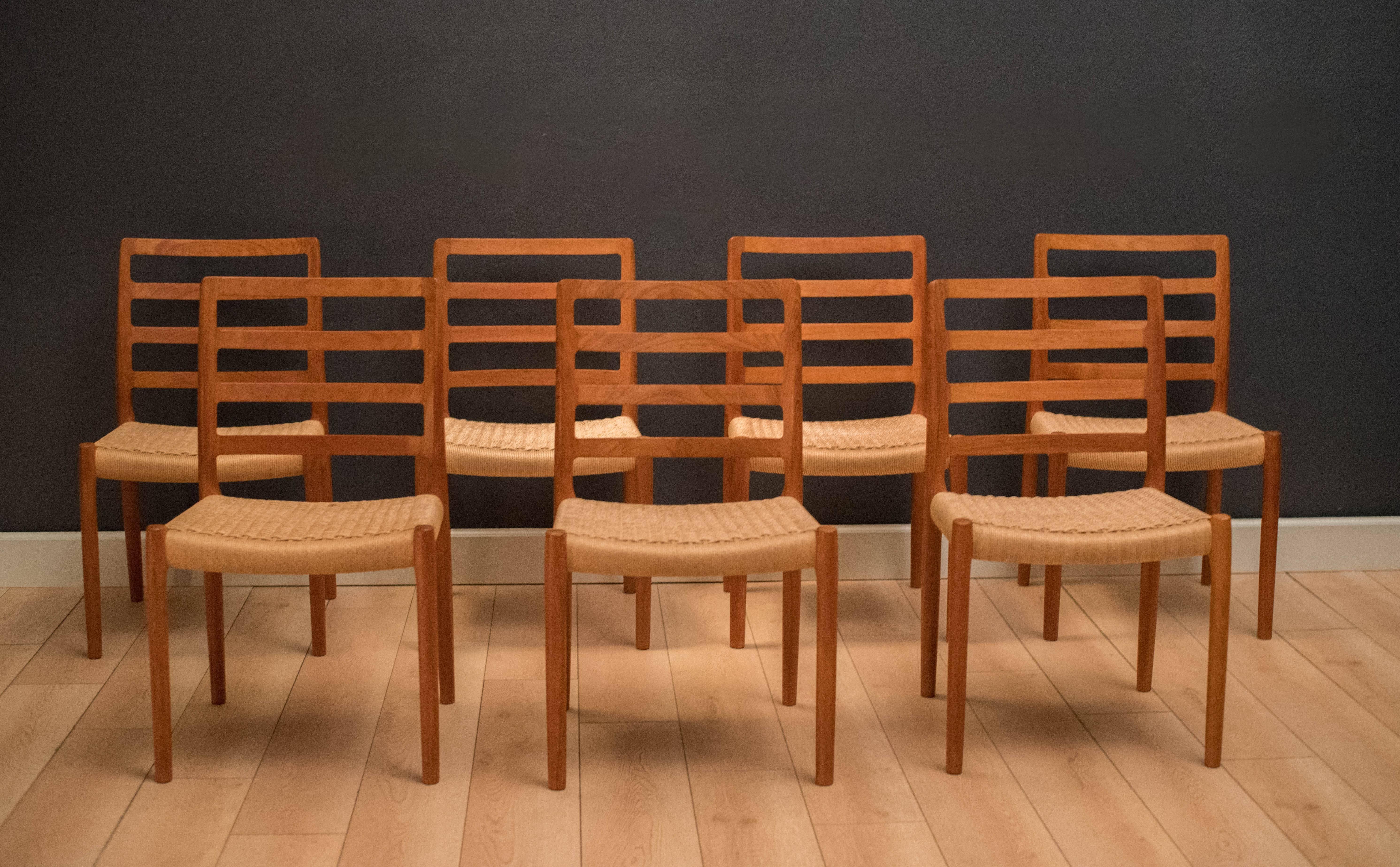 Scandinavian Modern Danish Set Of Eight Teak Moller Dining Chairs Model 85  For Sale