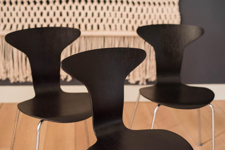 Chrome Danish Mosquito Munkegård Dining Chairs by Arne Jacobsen For Sale