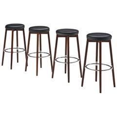 Danish Set of Four Barstools by Hugo Frandsen