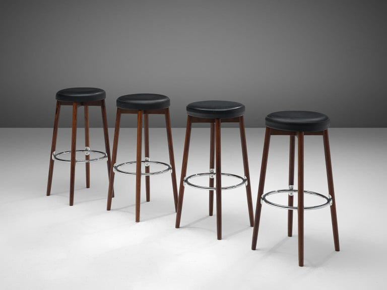 Cool Danish Set Of Four Barstools In Rosewood By Hugo Frandsen Caraccident5 Cool Chair Designs And Ideas Caraccident5Info