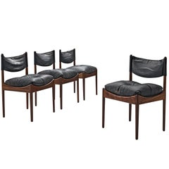 Danish Set of Rosewood Chairs with Black Leather