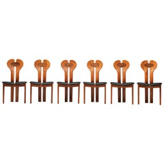 Danish Set of Six Dining Chairs in Teak, Wenge and Black Leather