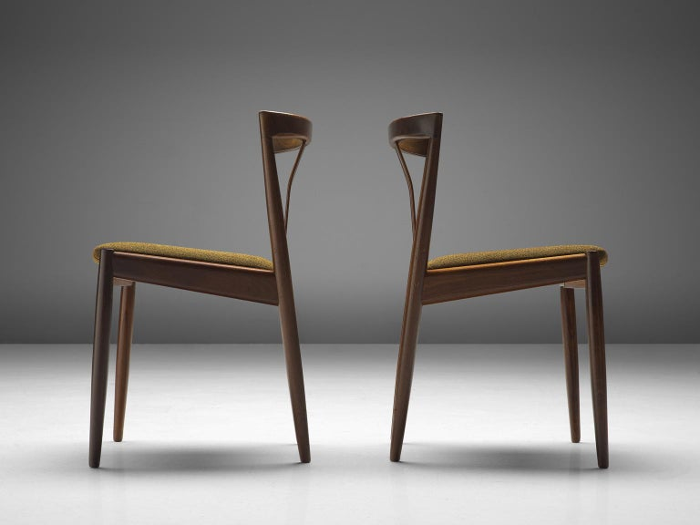 Wool Danish Set of Six Teak Dining Chairs, 1960s For Sale