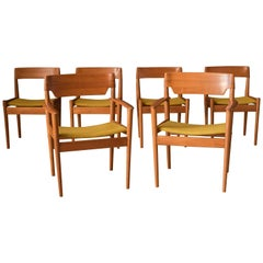 Danish Set of Six Teak Dining Chairs by Grete Jalk for Poul Jeppesen