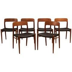 Set aus sechs Teak-Esszimmerstühlen Nr. 75 von Niels Moller, Dänemark