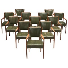 Danish Set of Twelve Dining Chairs in Olive Green Leather