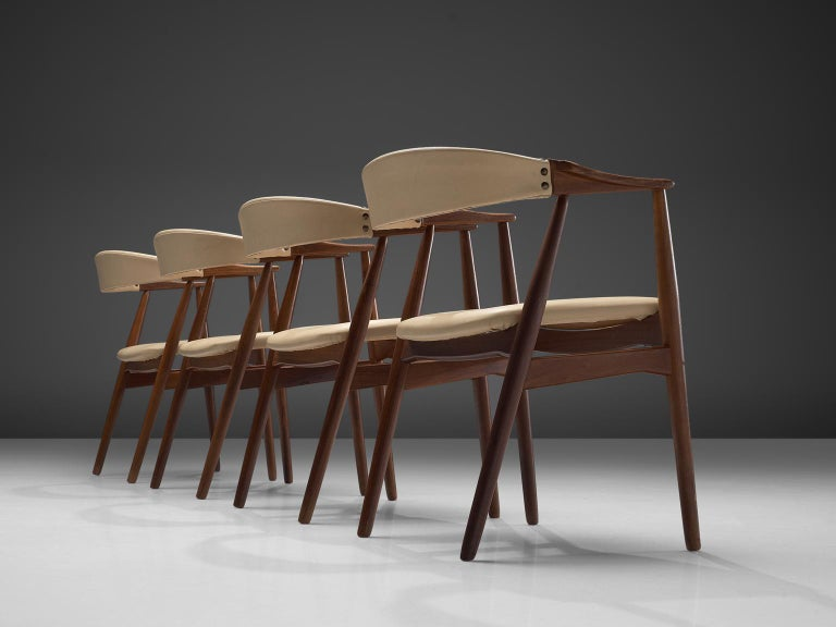 Danish Set Of Walnut Dining Chairs For Sale At 1stdibs