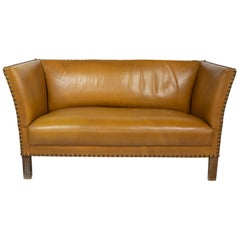 Danish Settee in Caramel Nappa, Brass Nailed Upholstery, Made in Denmark in 1940