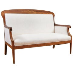 Settee Sofa/ Loveseat in Cuban Mahogany with Satinwood Inlays, Denmark, c. 1900