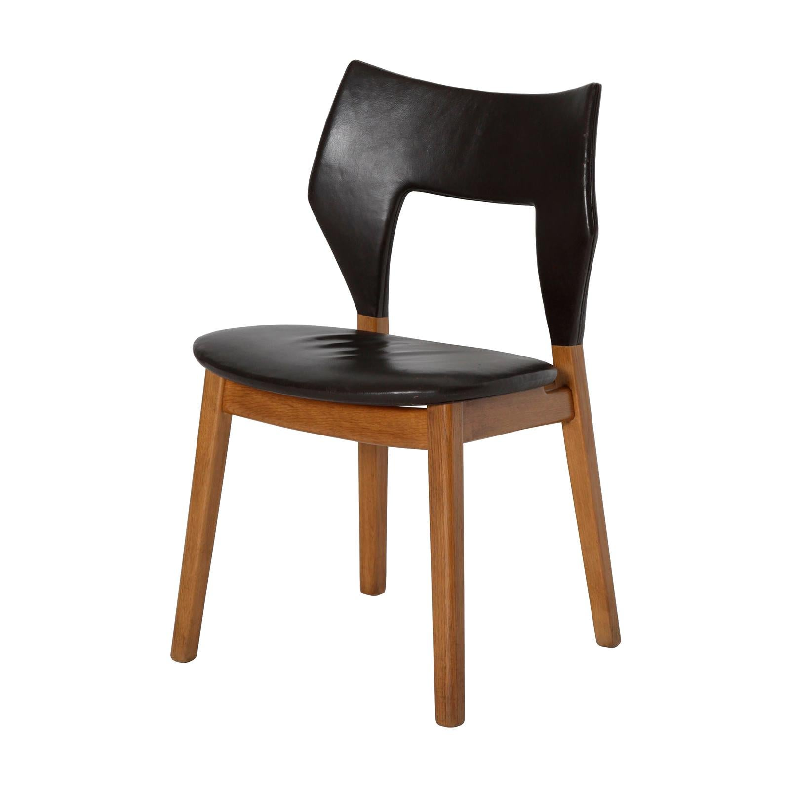 Danish Side Chair in Oak and Leather by Tove & Edvard Kindt-Larsen
