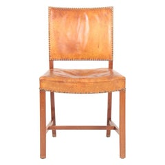 Danish Side Chair in Patinated Niger Leather, 1940s