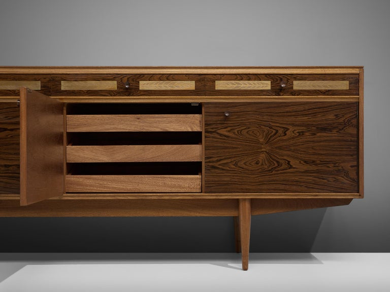 Danish Sideboard in Exotic Hardwood with Brass Details For Sale 5