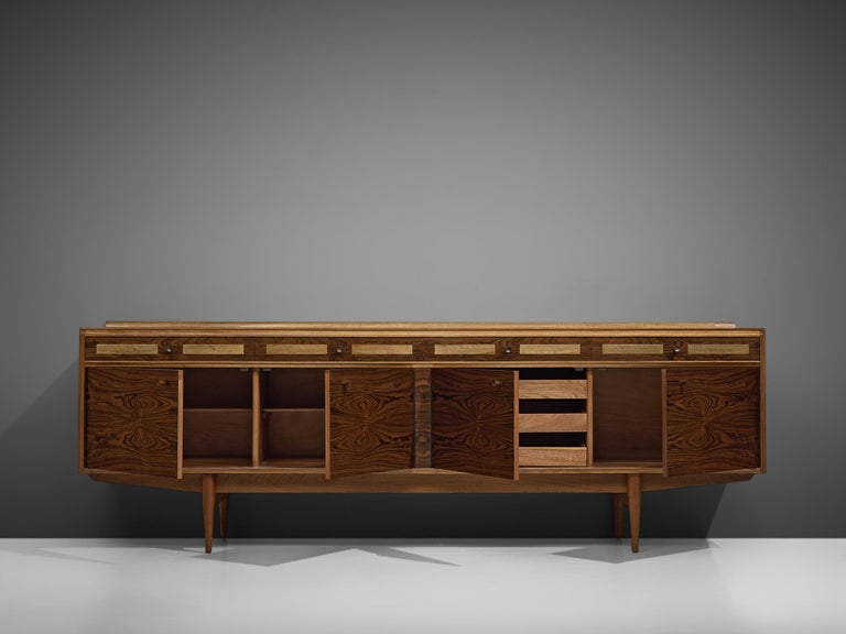 Danish Sideboard in Exotic Hardwood with Brass Details In Good Condition For Sale In Waalwijk, NL
