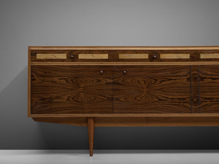 Danish Sideboard in Exotic Hardwood with Brass Details For Sale 1