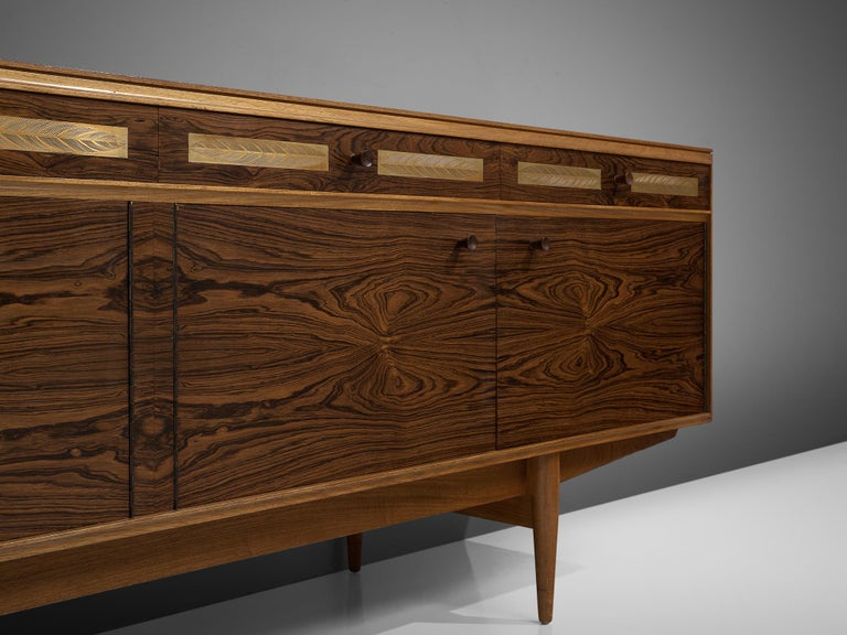 Danish Sideboard in Exotic Hardwood with Brass Details For Sale 2