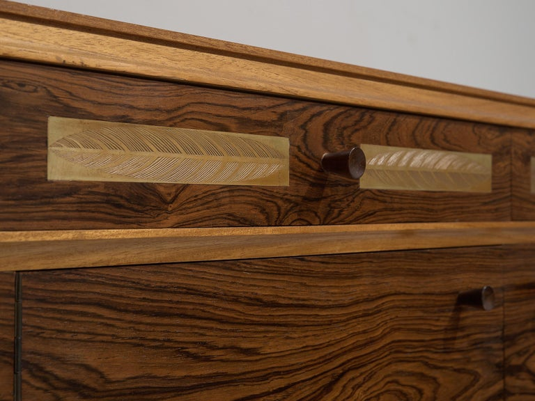 Danish Sideboard in Exotic Hardwood with Brass Details For Sale 3