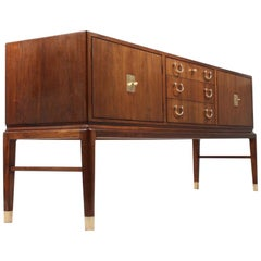 Danish Sideboard in Rosewood and Brass by Lysberg Hansen & Terp, 1940s
