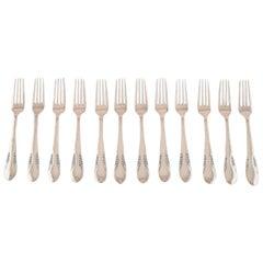 Danish Silver, 12 Dinner Forks, CFH: Christian Fr. Heise, 1920s-1930s