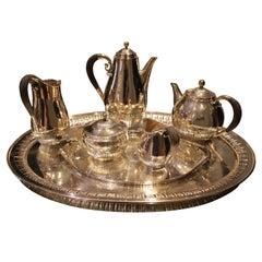 """Danish Silver 7 Piece """"Cosmos"""" Tea Set with Tray No.45"""