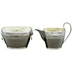 Danish Silver Cream Jug & Sugar Bowl by Simon Groth, Copenhagen Circa 1890