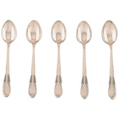 Danish Silver, Five Teaspoons, Stamped CFH Christian Fr. Heise. 1910-1920s