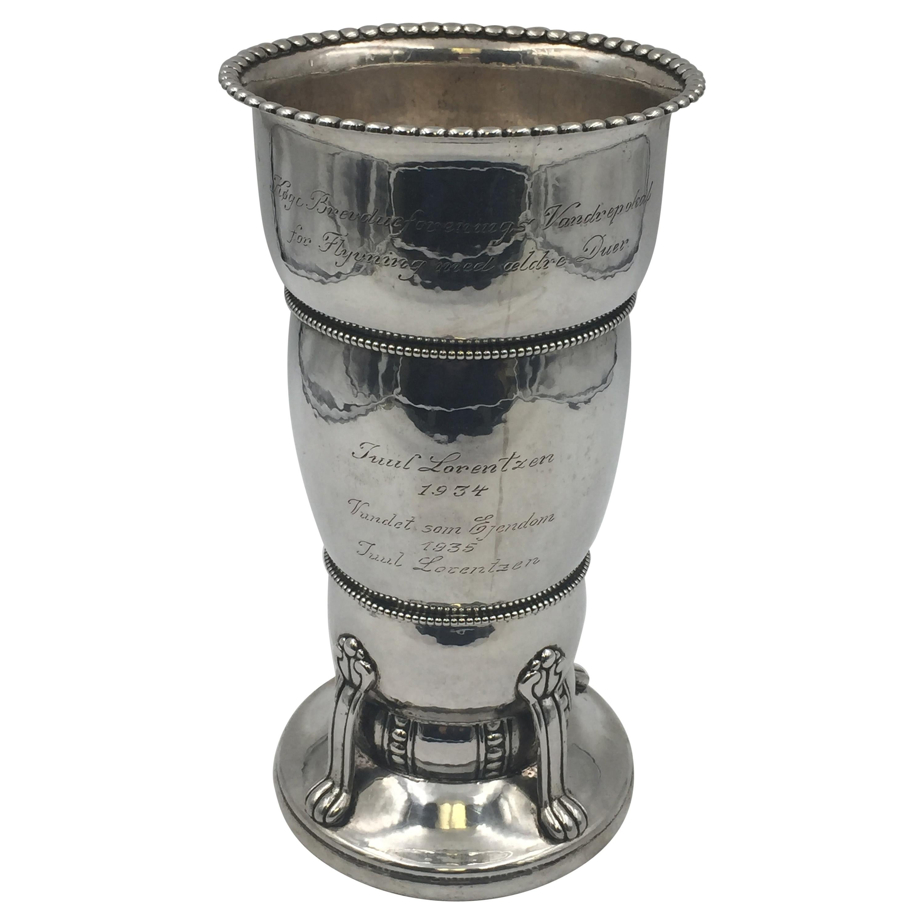 Danish Silver Hand Hammered Vase by C. Heise