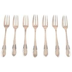 Danish Silver, Seven Cake Forks, Cfh, Christian Fr. Heise, 1910-1920s