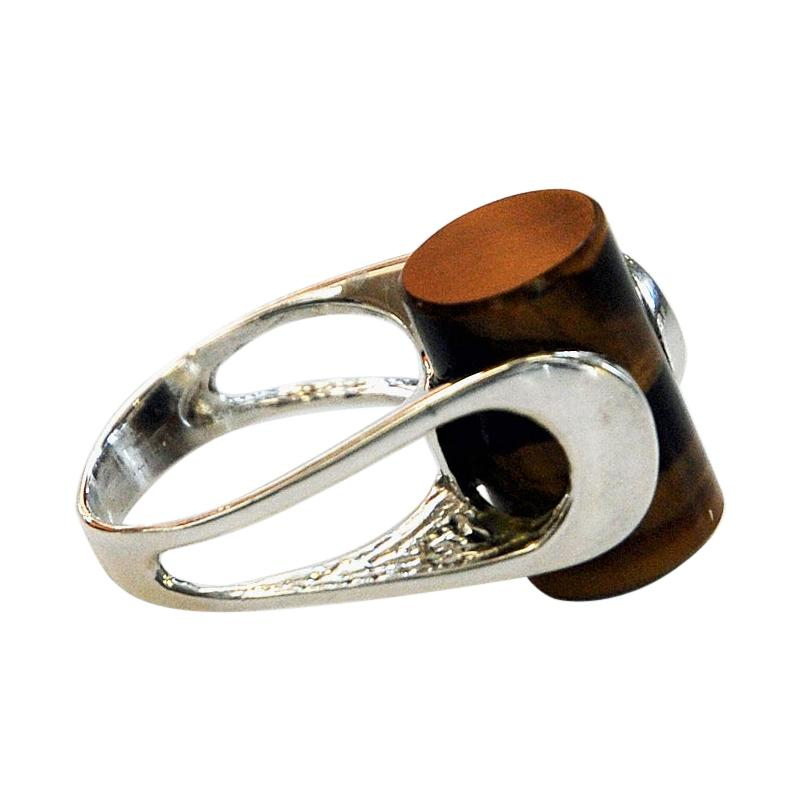 Danish Silverring with a Brown Cylinder Stone by Henning Ulrichsen, 1970s