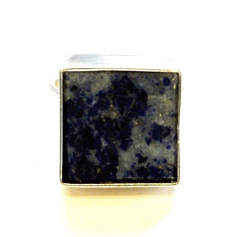 Scandinavian Modern Danish Silverring with Lapis Lazuli Stone by Brdr. Bjerring, 1970s For Sale