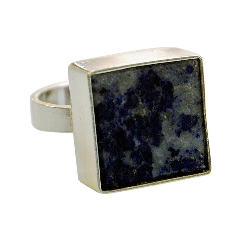 Danish Silverring with Lapis Lazuli Stone by Brdr. Bjerring, 1970s For Sale