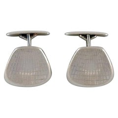 Danish Silversmith a Pair of Modernist Cufflinks in Sterling Silver, 1960s-1970s