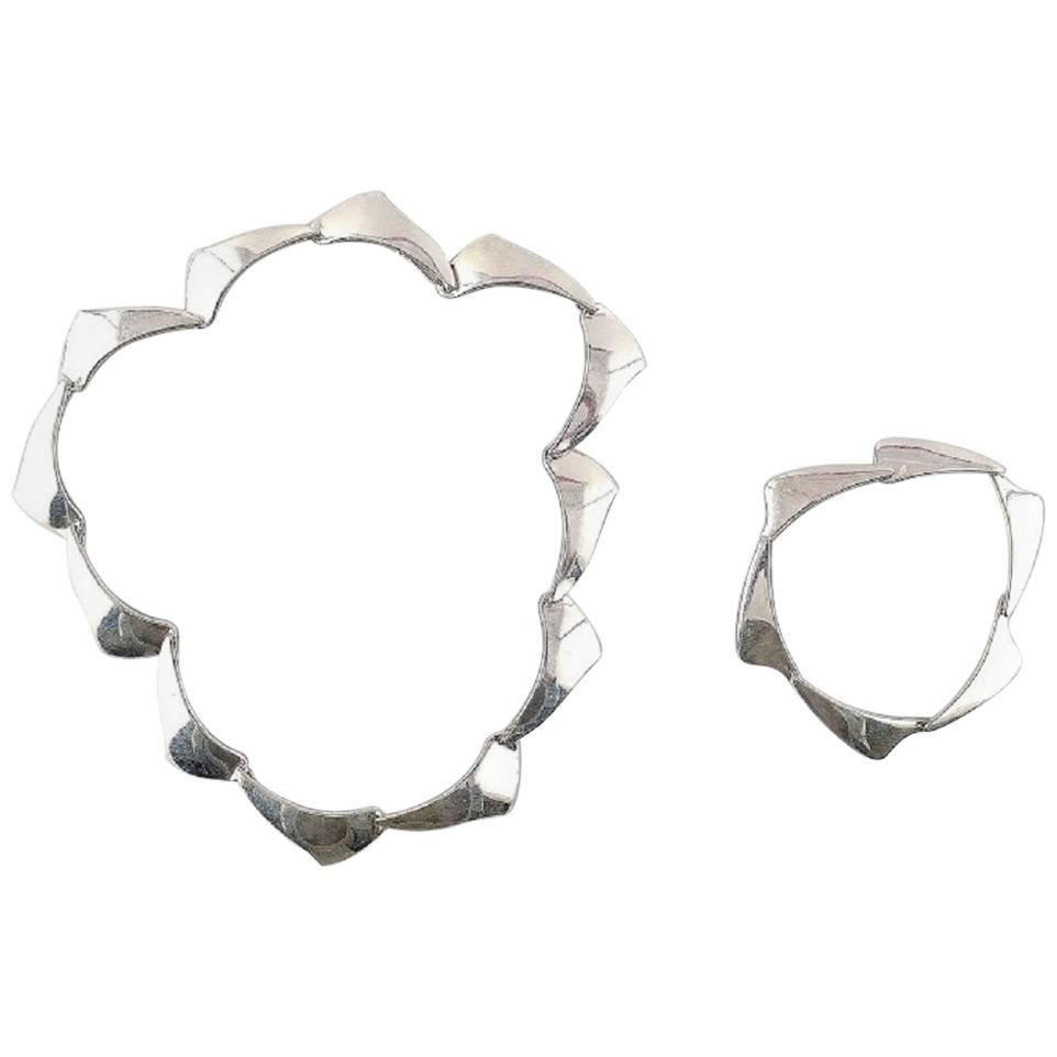 Danish Silversmith Sterling Silver Necklace and Bracelet Mid-20th Century