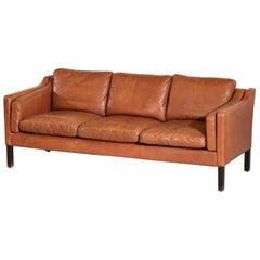 Danish Sofa Børge Mogensen Style Cognac Leather Scandinavian