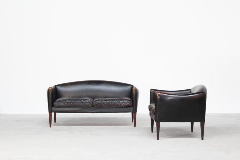 Danish Sofa by Illum Wikkelsø for Holger Christiansen, Denmark, 1960s Leather For Sale 6