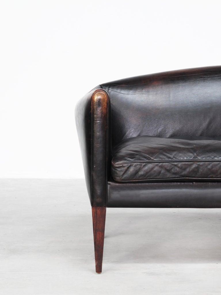 Danish Sofa by Illum Wikkelsø for Holger Christiansen, Denmark, 1960s Leather For Sale 1
