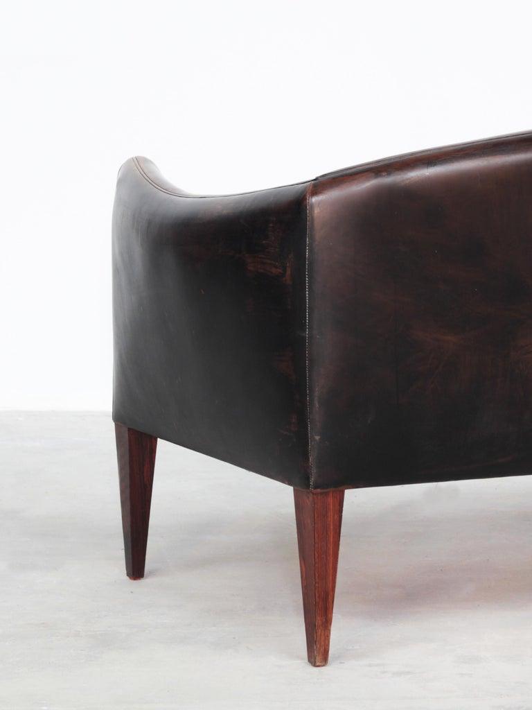 Danish Sofa by Illum Wikkelsø for Holger Christiansen, Denmark, 1960s Leather For Sale 2