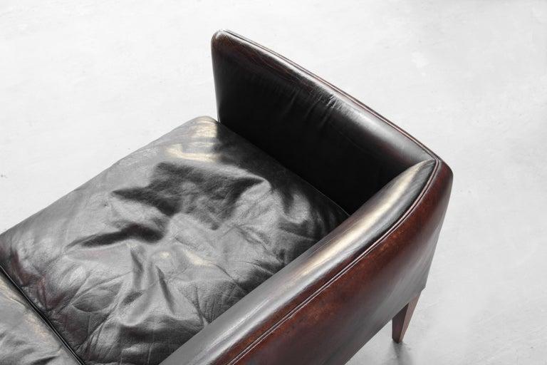 Danish Sofa by Illum Wikkelsø for Holger Christiansen, Denmark, 1960s Leather For Sale 4