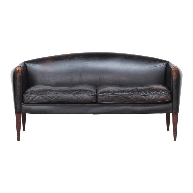 Danish Sofa by Illum Wikkelsø for Holger Christiansen, Denmark, 1960s Leather For Sale